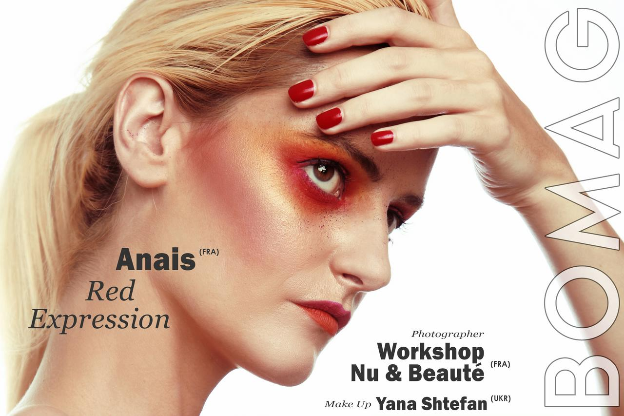 anais deroy in red expression by workshop nu beaute